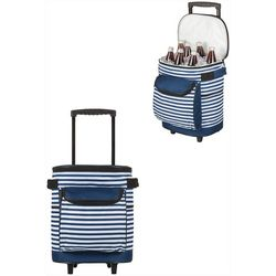 Navy & White Stripe Portable Rolling Cooler