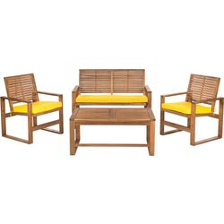 Safavieh Ozark 4-pc Patio Set With Yellow Cusions