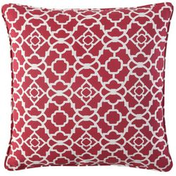 Waverly Lexie Red Trellis Square Outdoor Throw Pillow