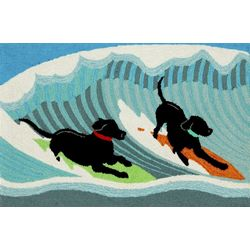 Liora Manne Frontporch Surfing Dogs Accent Rug
