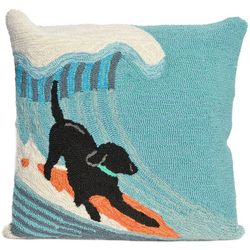 Liora Manne Frontporch Surfing Dog Square Pillow