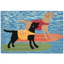 Liora Manne Frontporch Surfboard Dogs Accent Rug