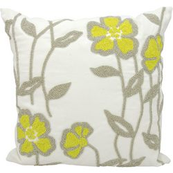 Mina Victory Beaded Flower Outdoor Throw Pillow