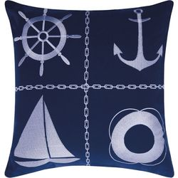 Mina Victory Nautical Grid Outdoor Throw Pillow