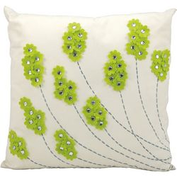 Mina Victory Felt Flowers Outdoor Throw Pillow