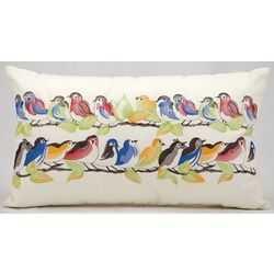 Mina Victory Birds On Wire Outdoor Throw Pillow