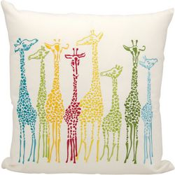 Mina Victory Giraffes Outdoor Throw Pillow