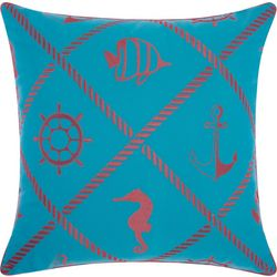 Mina Victory Nautical Diamond Outdoor Throw Pillow