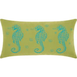 Mina Victory Three Seahorses Outdoor Throw Pillow