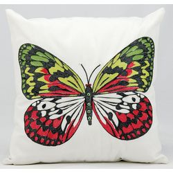 Mina Victory Green Butterfly Outdoor Throw Pillow