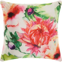 Mina Victory Watercolor Pink Flower Outdoor Pillow