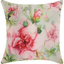 Mina Victory Watercolor Pink Roses Outdoor Pillow