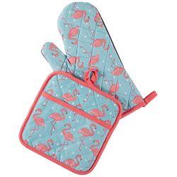 Lintex 2-pc. Flamingo Oven Mitt & Pot Holder Set