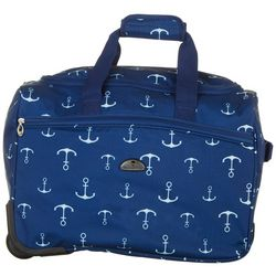 American Flyer 18'' Navy Anchor Wheeled Duffel Bag