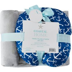 Coastal Home Anchor Travel Pillow & Throw Set
