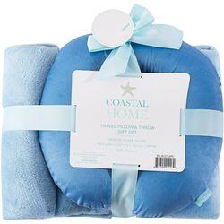 Coastal Home Blue Travel Pillow & Throw Set