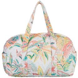 Red Pineapple 22'' Floral & Palm Quilted Duffel Bag