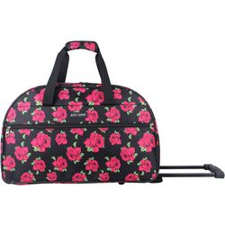 Betsey Johnson Covered Rose Wheeled Duffel Bag