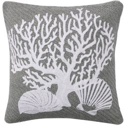 Saltwater Home Nantucket Coral Motif Decorative Pillow