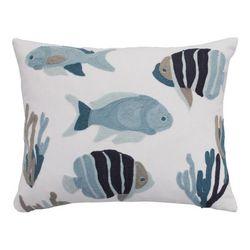 Saltwater Home Nantucket Teal Crewel Fish Decorative Pillow