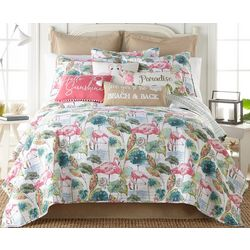 Saltwater Home Tropical Breeze Flamingo Quilt Set