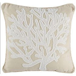 Saltwater Home Coral Sea Life Embroidered Decorative Pillow