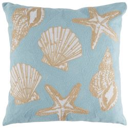 Saltwater Home Coral Sea Life Shells Decorative Pillow