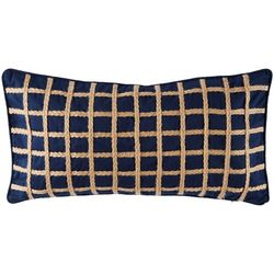 Saltwater Home Morro Bay Navy Grid Decorative Pillow