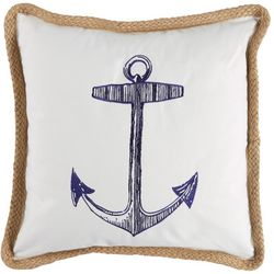 Saltwater Home Morro Bay Anchor & Stripe Decorative Pillow