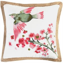 Saltwater Home Embroidered Bird Decorative Pillow