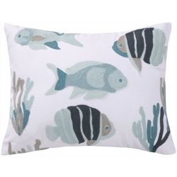 Saltwater Home Embroidered Fish Decorative Pillow