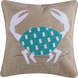 Coastal Sea Breeze Crab Applique Decorative Pillow