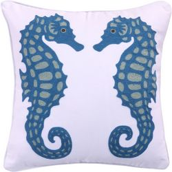 Coastal Atlantis Embroidered Seahorse Decorative Pillow
