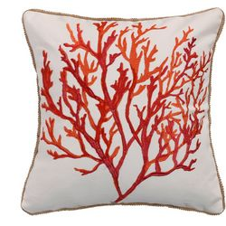 Coastal Cyprus Embroidered Coral Decorative Pillow