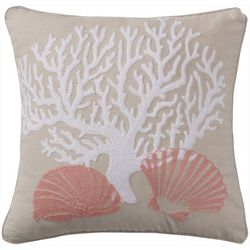 Saltwater Home Coral Reef Embroidered Decorative Pillow