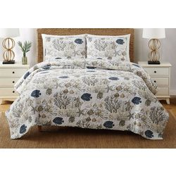 Oceanfront Resort Coastal Shells Quilt Set