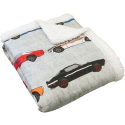 Lush Home Race Cars Sherpa Quilted Throw