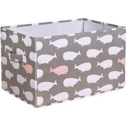 Lush Home Whale Print Covered Collapsible Box