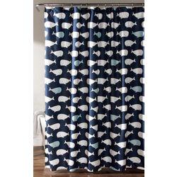 Lush Home Whale Print Shower Curtain