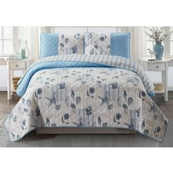 Coastal Home Postcard Shells Quilt Set