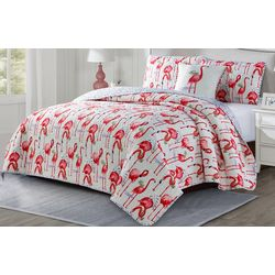 Seaside Resort Watercolor Flamingo Quilt Set