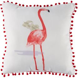 Seaside Resort Flamingo Pom Decorative Pillow