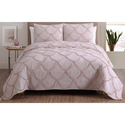 S.L. Home Fashions Shell Ruffle Quilt Set