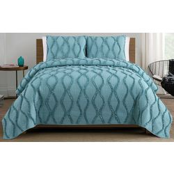 S.L. Home Fashions Ogee Ruffle Quilt Set