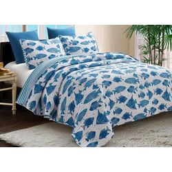 By The Seashore Blue Fish Quilt Set