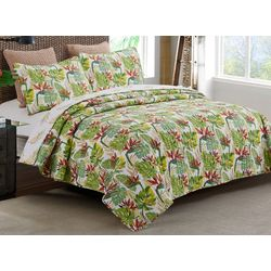 By The Seashore Tropical Watercolor Quilt Set
