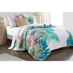 Red Pineapple Isla Leaves Quilt Set
