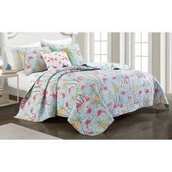 Red Pineapple Sunset Flamingo Quilt Set
