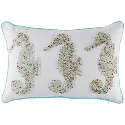 Coastal Home Watercolor Sealife Beaded Seahorse Pillow