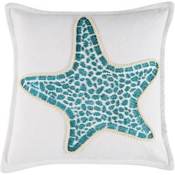 Coastal Home Floating Shells Starfish Decorative Pillow